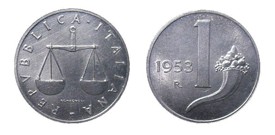 monete 1 lira 1953 cornucopia