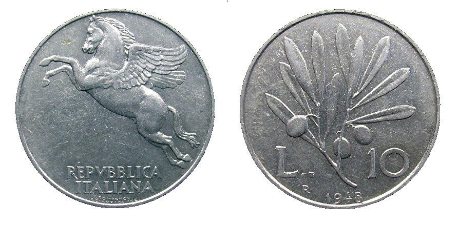 monete 10 lire 1948 olivo