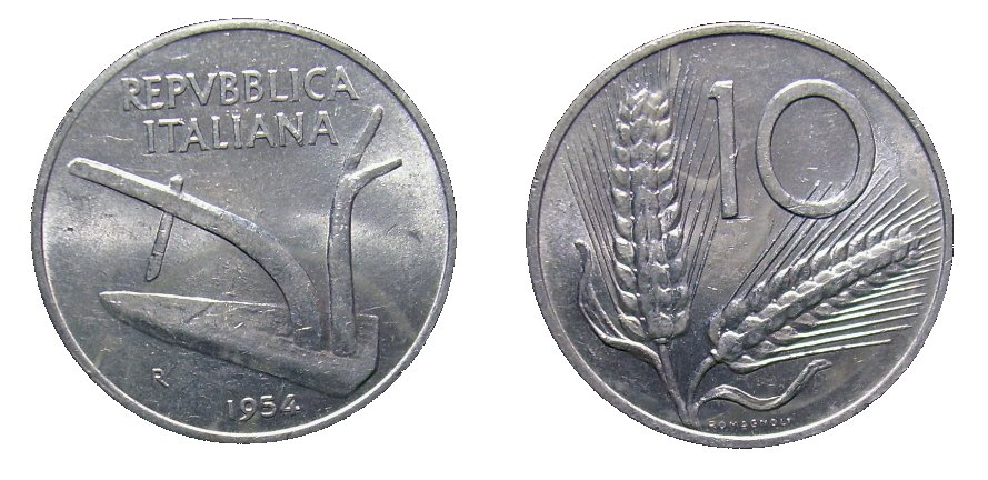 monete 10 lire 1954