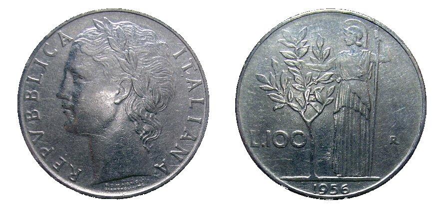 monete 100 lire 1956 minerva