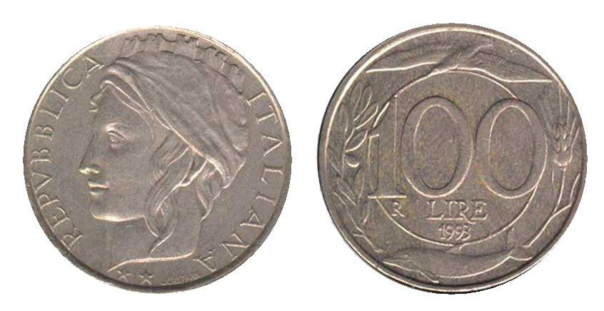 monete 100 lire 1993 italia turrita