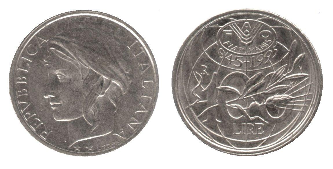monete 100 lire 1995 fao
