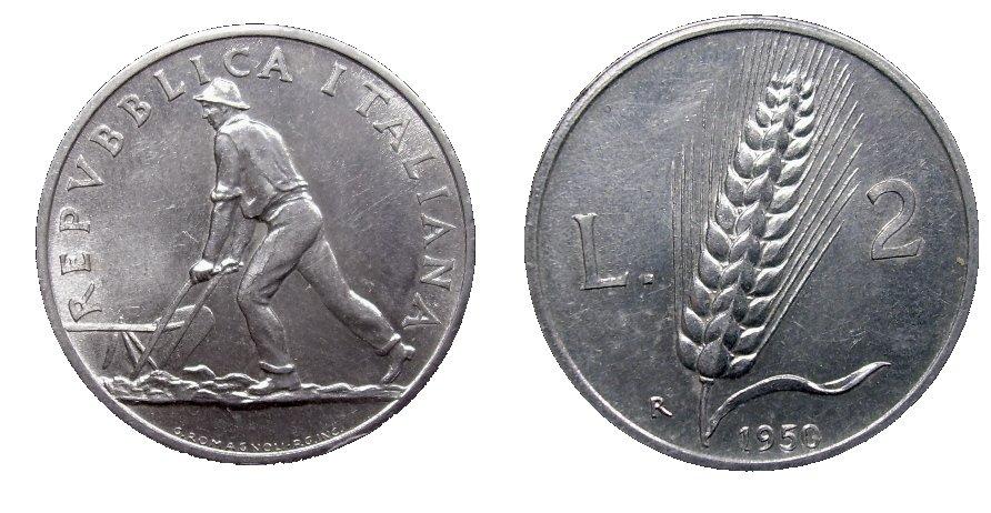 monete 2 lire 1950 spiga
