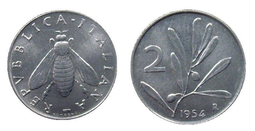monete 2 lire 1954 olivo