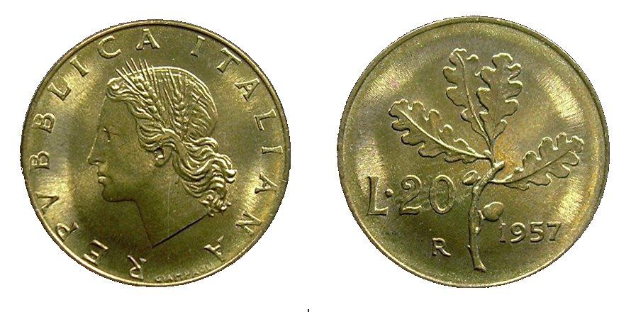monete 20 lire 1957
