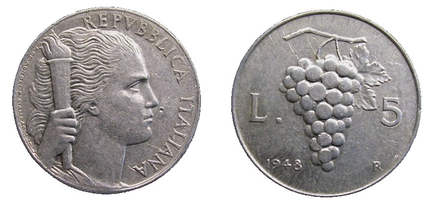 monete 5 lire 1948 uva