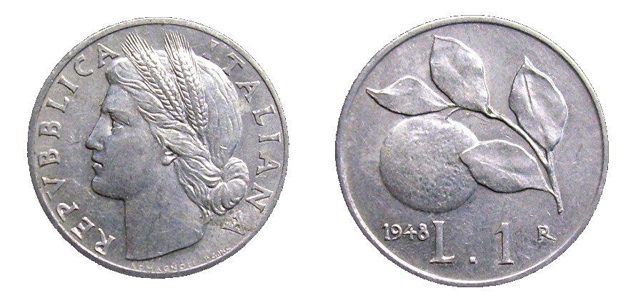 monete 1 lira 1948 - arancia