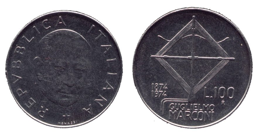 monete 100 lire 1974 marconi