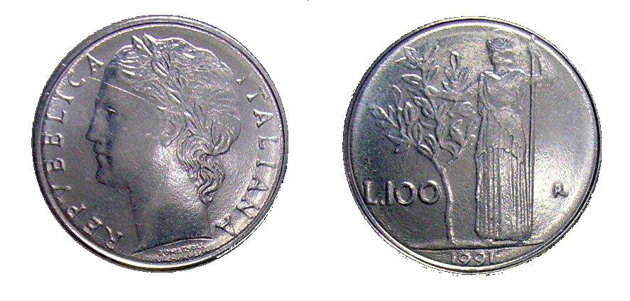 monete 100 lire 1991 minerva