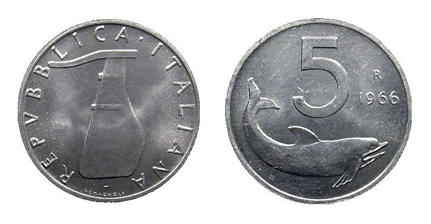 monete 5 lire 1966 delfino