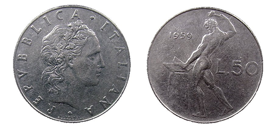monete 50 lire 1958 vulcano