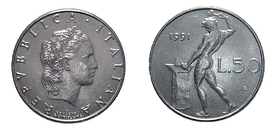 monete 50 lire 1991 vulcano