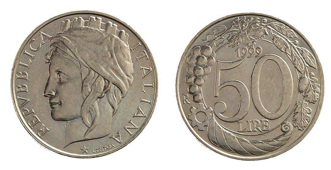 monete 50 lire 1999 italia turrita